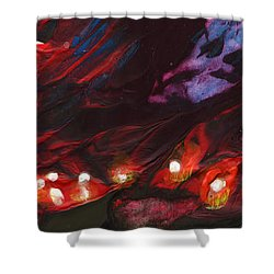 Red Demon With Pearls Shower Curtain by Miki De Goodaboom