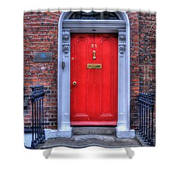 Red Door Dublin Ireland Shower Curtain by Juli Scalzi
