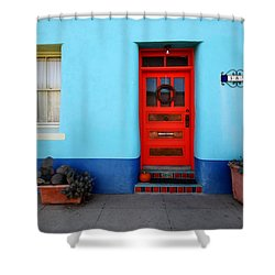 Red Door On Blue Wall Shower Curtain
