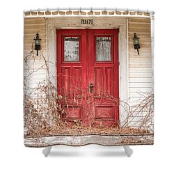 Red Doors - Charming Old Doors On The Abandoned House Shower Curtain by Gary Heller