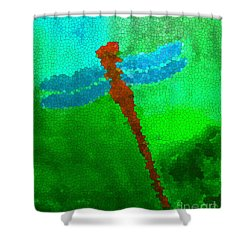 Shower Curtain featuring the digital art Red Dragonfly by Anita Lewis