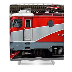 Shower Curtain featuring the photograph Red Electric Train Locomotive Bucharest Romania by Imran Ahmed