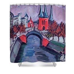 Red Elisabeth Riverbank Berlin Shower Curtain by Ernst Ludwig Kirchner