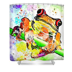 Red Eyed Tree Frog Grunge Shower Curtain