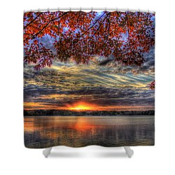 Shower Curtain featuring the photograph Good Bye Till Tomorrow Fall Leaves Sunset Lake Oconee Georgia by Reid Callaway