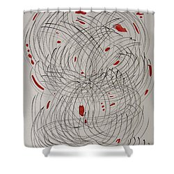 Red Fan Shower Curtain by Mary Carol Williams