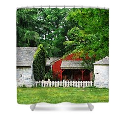 Red Farm Shed Shower Curtain by Susan Savad
