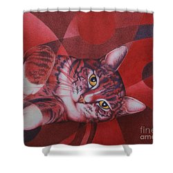 Shower Curtain featuring the painting Red Feline Geometry by Pamela Clements