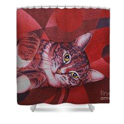Red Feline Geometry Shower Curtain by Pamela Clements