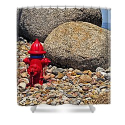 Shower Curtain featuring the photograph Red Fire Hydrant On Rocky Hillside by Ella Kaye Dickey