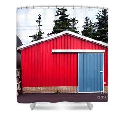 Red Fishing Shack Pei Shower Curtain by Edward Fielding