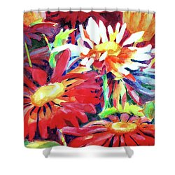 Red Floral Mishmash Shower Curtain