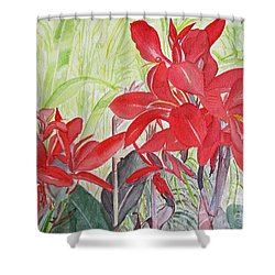 Shower Curtain featuring the painting Red Flowers by Carol Flagg