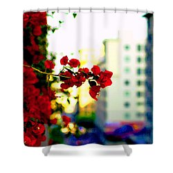 Red Flowers Downtown Shower Curtain by Matt Harang