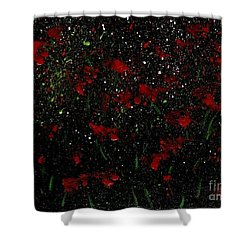 Red Flowers In Twilight  Shower Curtain