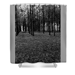 Red Forest In Black And White Shower Curtain