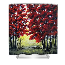 Red Forest Shower Curtain by Suzanne Theis
