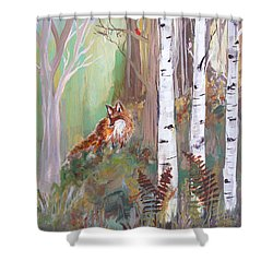 Red Fox And Cardinals Shower Curtain by Robin Maria Pedrero