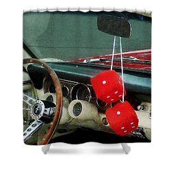 Red Fuzzy Dice In Converible Shower Curtain by Susan Savad