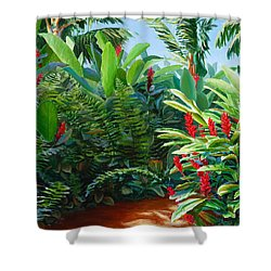 Red Garden Hawaiian Torch Ginger Shower Curtain