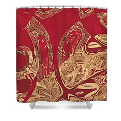 Red Geranium Abstract Shower Curtain by Judi Suni Hall