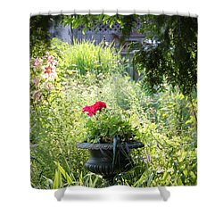 Red Geranium Shower Curtain by John Stuart Webbstock