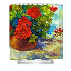 Red Geraniums I Shower Curtain by Peggy Wilson