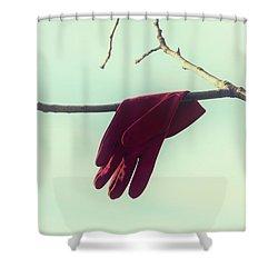Red Glove Shower Curtain by Joana Kruse