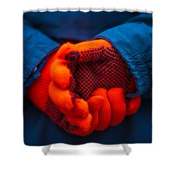 Red Gloves - Featured 3 Shower Curtain by Alexander Senin