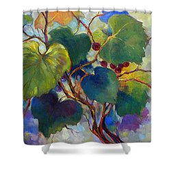 Red Grape Vines Shower Curtain by Peggy Wilson