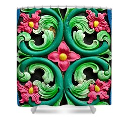 Red Green And Blue Floral Design Singapore Shower Curtain by Imran Ahmed