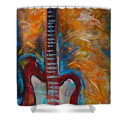 Red Guitar Shower Curtain by Linda Olsen