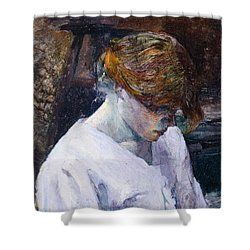 Red-haired Woman In White Camisole Shower Curtain by Henri de Toulouse Lautrec