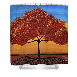 Red Happy Tree Shower Curtain