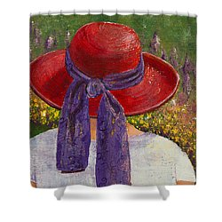 Red Hat Garden Shower Curtain by Margaret Bobb