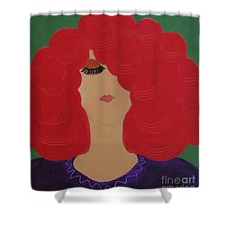 Shower Curtain featuring the painting Red Head by Anita Lewis