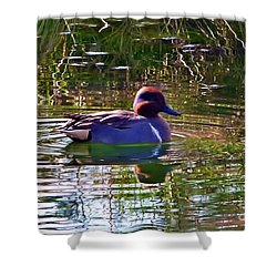 Shower Curtain featuring the photograph Red Headed Duck by Susan Garren