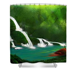Red Heart Rising Shower Curtain