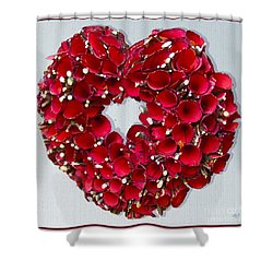 Shower Curtain featuring the photograph Red Heart Wreath by Victoria Harrington