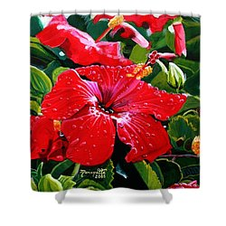 Red Hibiscus Shower Curtain by Marionette Taboniar