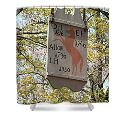 Red Horse Prances Shower Curtain by Barbara McDevitt