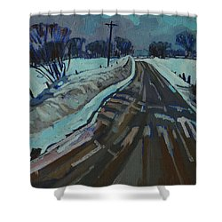 Red Horse Road Shower Curtain by Phil Chadwick