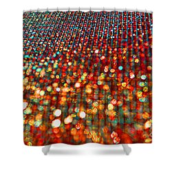 Red Hot Bokeh Bling Shower Curtain