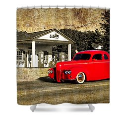 Red Hot Rod Cruising Route 66 Shower Curtain by Thomas Woolworth