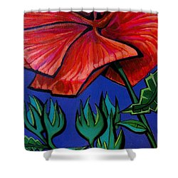 Red Ibiscus - Botanical Shower Curtain