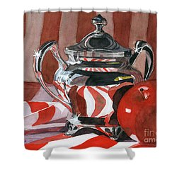 Red In Silver Shower Curtain