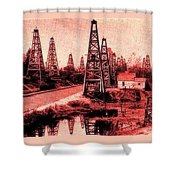 Red Indiana Oil Wells Circa 1900 Shower Curtain by Peter Gumaer Ogden
