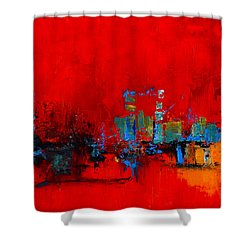 Shower Curtain featuring the painting Red Inspiration by Elise Palmigiani