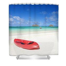 Red Kayak At Lanikai Shower Curtain by M Swiet Productions