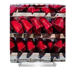 Red Kayaks Shower Curtain by Thomas Marchessault